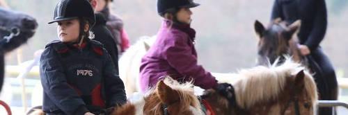 Jeunes cavalières en cours